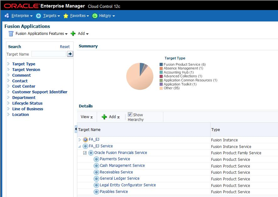 Click the Fusion Instance Service to see all the system related Service data, including