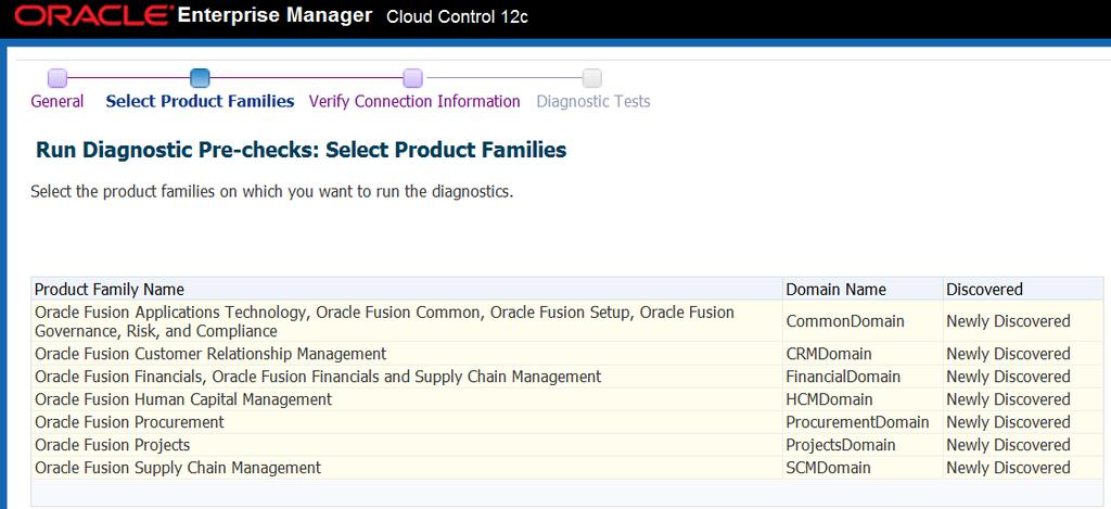 Once Administrators select the desired Product Families on which to run the pre-checks, click Next to verify the connection