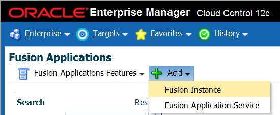Fusion Instance Discovery Discovery is the process of adding Fusion Apps targets into the Enterprise Manager repository.