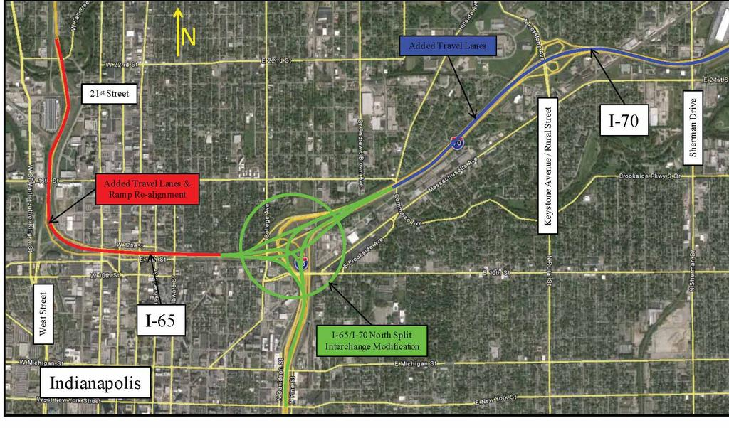 The INDOT overall project is separated into three sections as shown in the location maps*: I-65/70 North Junction bounded by Vermont Street,