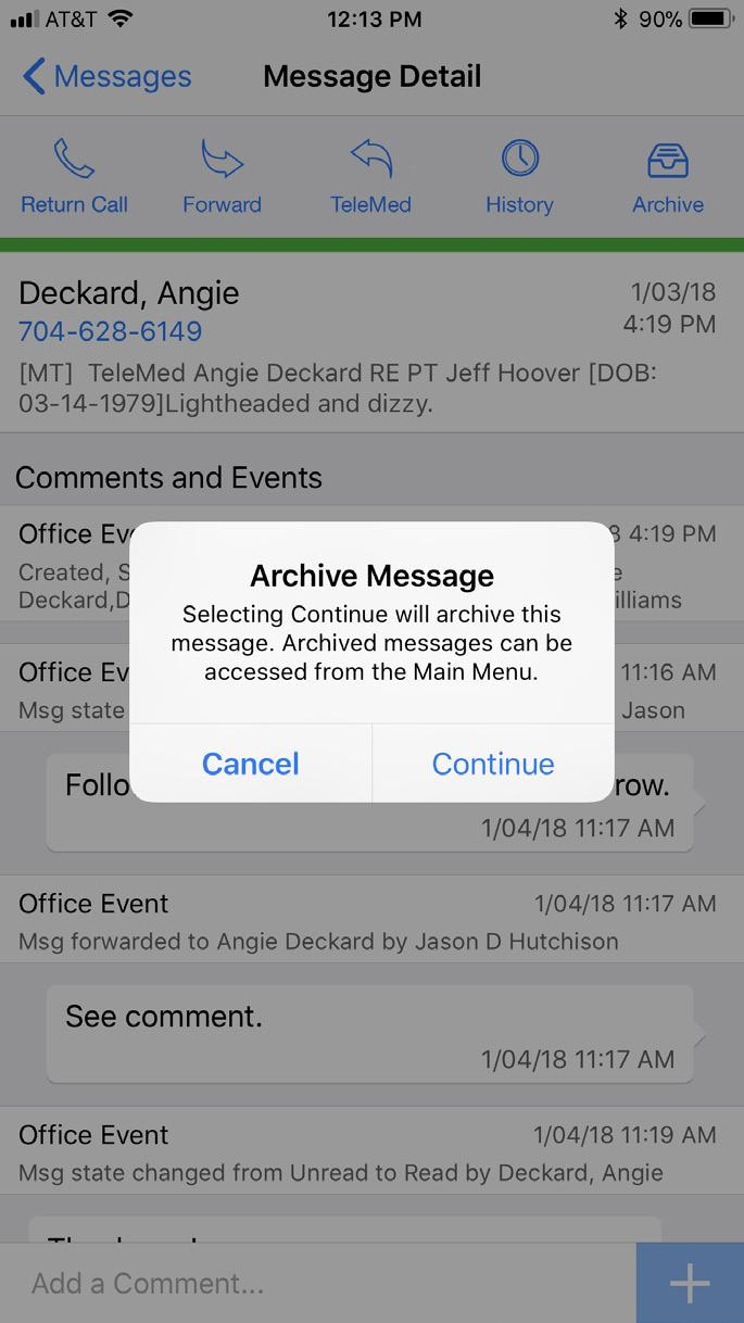 At 11:17AM the Office Event indicates that the message was forwarded to Angie Deckard. At 11:19AM the message was opened by Angie and changed status from Unread to Read.