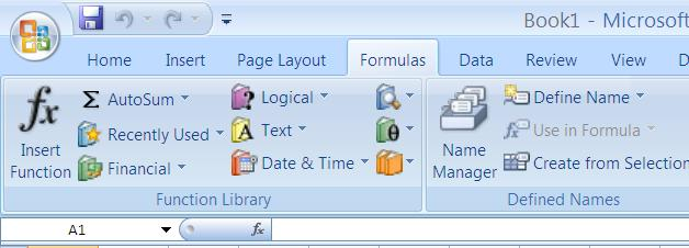in a formula-- type the equal sign (=) type the function word type a left parenthesis ( block out the range of cells you want to work with type a right parenthesis You can also click in any