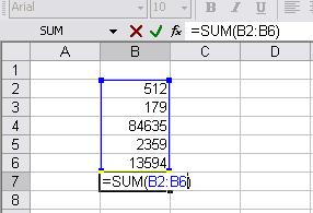 Common functions Sum adds the values in the specified range of cells