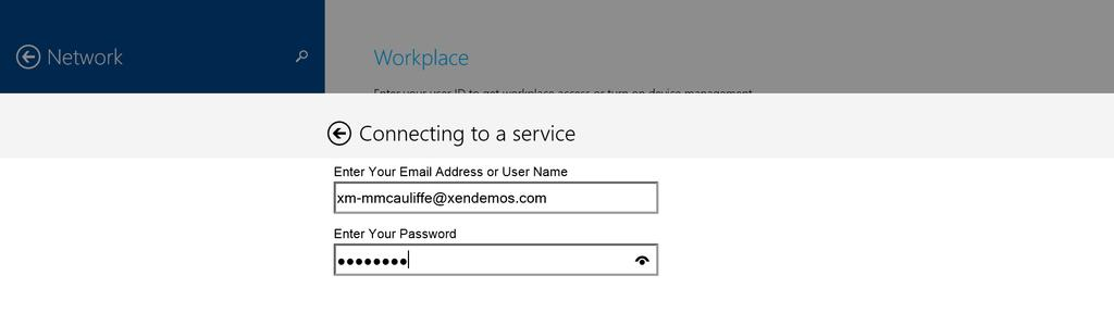 password) to begin enrolling a Windows 8.1 device with XenMobile.