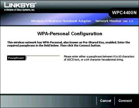 WEP Key - The WEP key you enter must match the WEP key of your wireless network. For 64-bit encryption, enter exactly 10 hexadecimal characters.