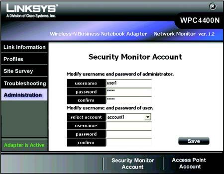 Security Monitor Account The Security Monitor Account screen provides you with the function to create and modify your Security Monitor account.