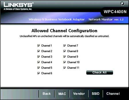 Allowed Channel Configuration The Allowed Channel Configuration screen shows the channels that are allowed to be used in your wireless networks.