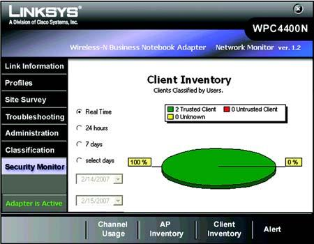 AP Inventory The AP Inventory screen provides statistics of the distribution grouped by your AP s classification of your wireless networks.