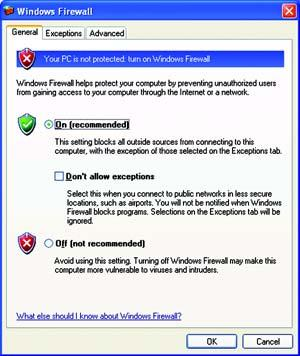 Windows Firewall Windows XP users may see a Windows Firewall screen when using the security monitor.