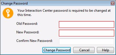2. Type your old and new passwords. Note: The Change Password dialog box does not apply to your Windows password, even if you use your Windows User ID and password to log on to Interaction Desktop. 3.
