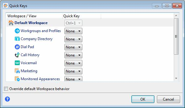 2. To change the default key assignment for a workspace, select the Override default Workspace behavior checkbox. 3.
