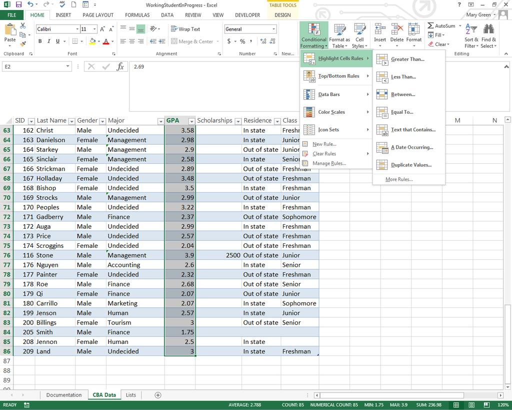 G) Conditional Formatting Conditional formatting is useful because it will make a cell or data in a cell that meets a certain criteria stand out. Excel provides both icons and cell color options.