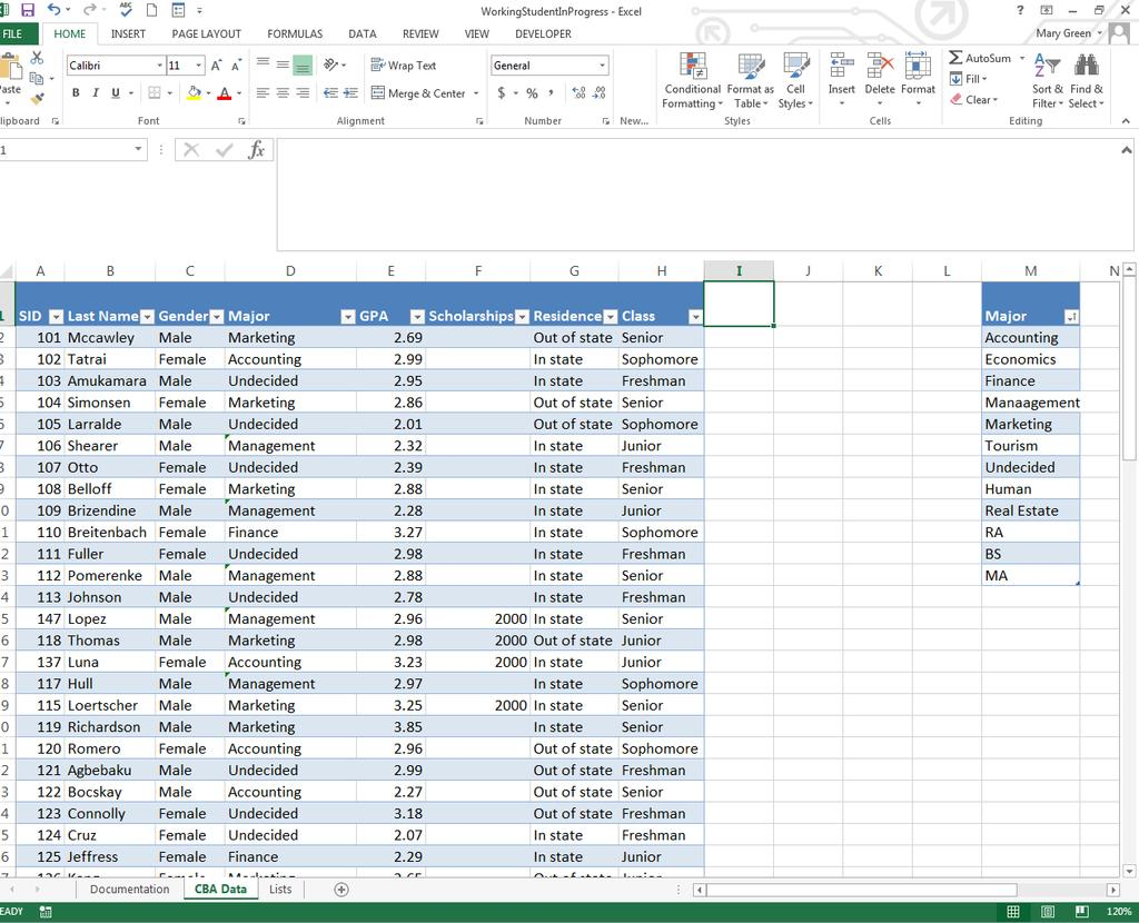 H) Adding New Columns to Your Table Excel will automatically add a column to your table if you start typing in the column heading in the cell adjacent to the last title cell in a table.