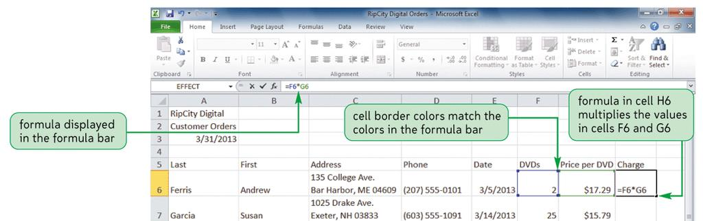 Working with Formulas Viewing a formula Select cell and review expression displayed in the formula bar Each cell
