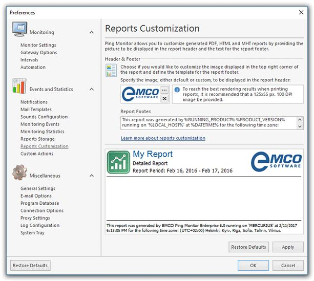 Program Preferences Reports Customization Page Ping Monitor enables you to customize the header and the footer of the PDF, HTML and MHT reports generated by the program.