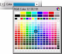 In the Size listbox, select 14 In the Style listbox, select Bold Click the Color dropdown listbox to bring up the color picker.