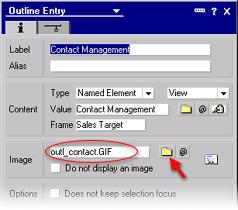 "Choose View as the type of Named Element. In the Value field, type in ""Contact Management"", or if you prefer, click on the folder button next to the field to bring up the Locate Object dialog box."