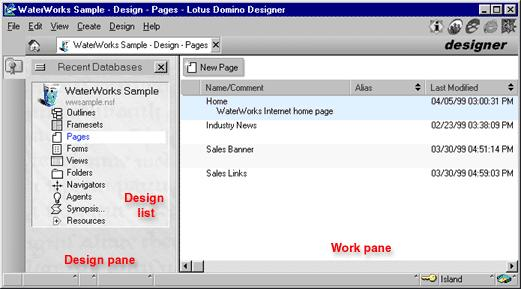 The Designer window is divided into the following panes: The left pane is called the Design pane. The Design pane lists the most recently used databases. Under each database is the Design list.