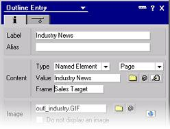 "Click New Entry. Enter the label ""Industry News"". Choose the image ""outl_industry"". Note: You can modify the order of the entries at any time by clicking on an entry an dragging it up or down. Step 5."