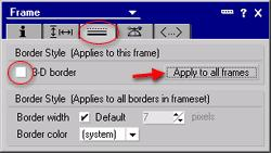 Step 4. Specify the frame border properties Whether or not you want the frames to have borders is a matter of taste. 3-D borders are displayed by default.
