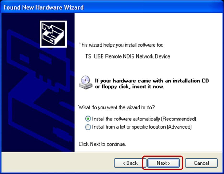 12. Select the Install the software automatically