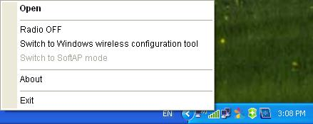 1. Right-click on the utility icon in your system tray (lower-right corner). Select Switch to Windows wireless configuration tool. Figure 3-14 2.