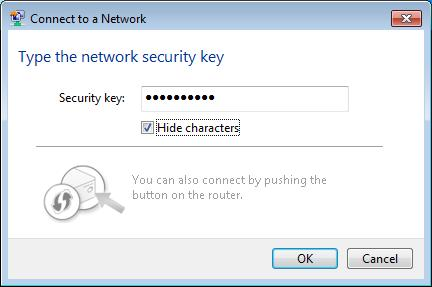 as shown in the figure below). If the network to be connected is not secure, the connection will be built without entering a key.