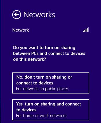 Note: If the adapter is connected to the network for the first time, you will be asked whether to turn on sharing or connect