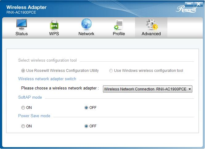 Figure 4-10 4.2 Advanced The following configurations can be made on the Advanced page: 1) To select wireless configuration tool.