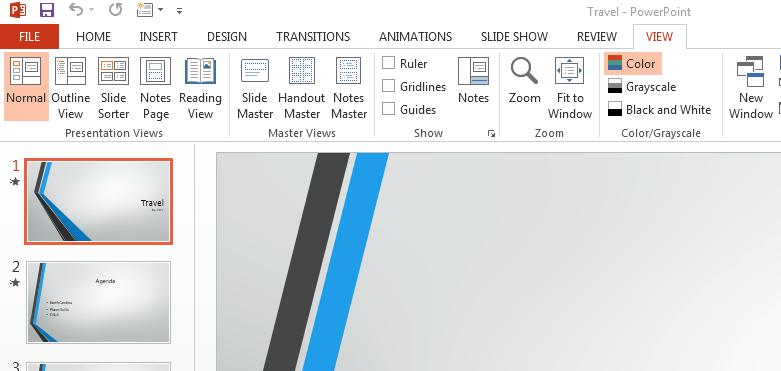 USING MICROSOFT POWERPOINT 2013 3 Slide Views When you are creating a PowerPoint presentation, you may need to rearrange the order of your slides.