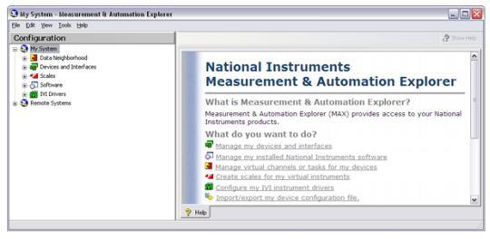 NI Measurement & Automation Explorer (MAX) Icon on your Desktop All NI-DAQmx devices include MAX, a configuration and test utility You can use MAX to Configure and test NI-DAQmx hardware with