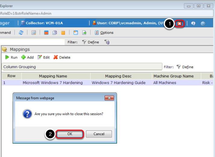 Exit from vcenter Configuration Manager Procedure: 1.