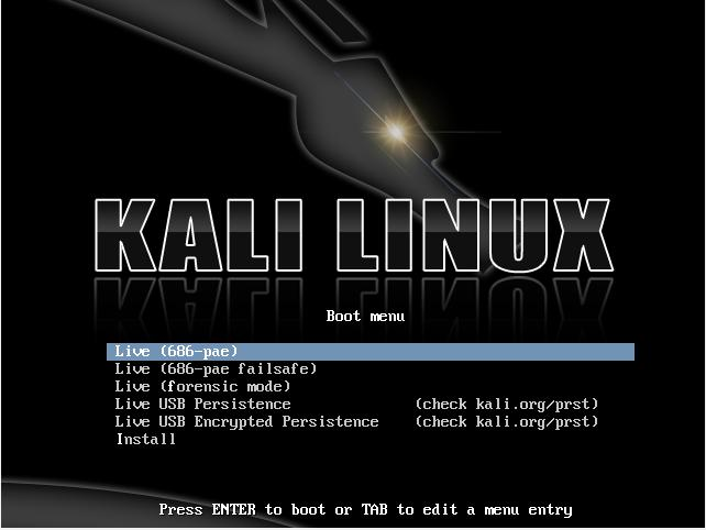 Figure 13: Running Kali Linux from a live-usb. 3.