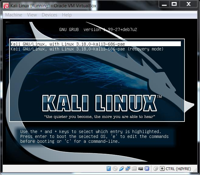 We will use VirtualBox to simulate that we are running a dual-boot system with Windows 7 and Kali Linux installed on their