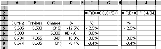 ELIMINATE THE #DIV/0! ERROR FROM A WORKSHEET When you write a formula that divides by a cell that could contain zero, use the following method.