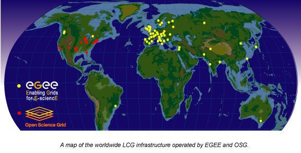 WLCG depends on two major science grid infrastructures. EGEE - Enabling Grids for E-Science OSG - US Open Science Grid.