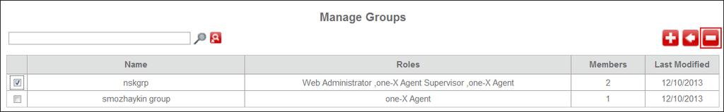 1. On the Avaya Control Manager one-x Central Management navigation menu, click User Groups. The system displays the Manage Groups page. 2.