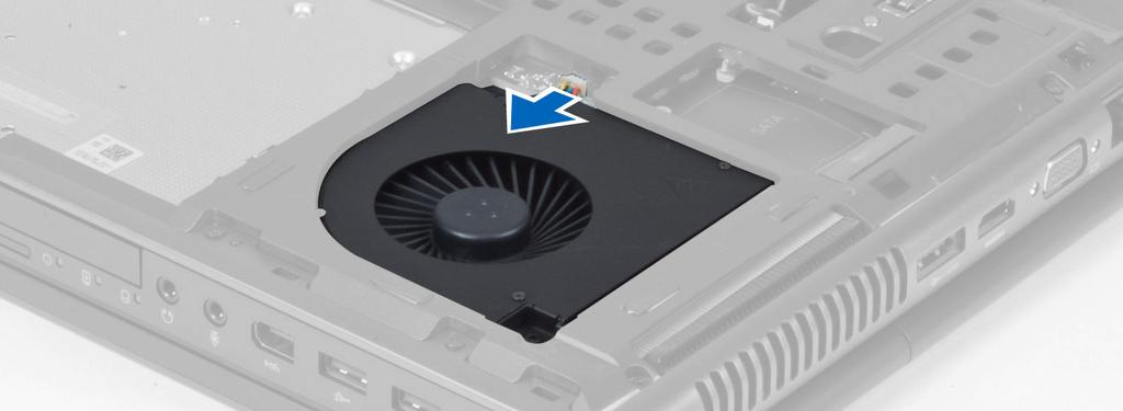 Tighten the screws that secure the processor fan to the computer. 4. Install the: a. base cover b. battery 5. Follow the procedures in After Working Inside Your Computer.