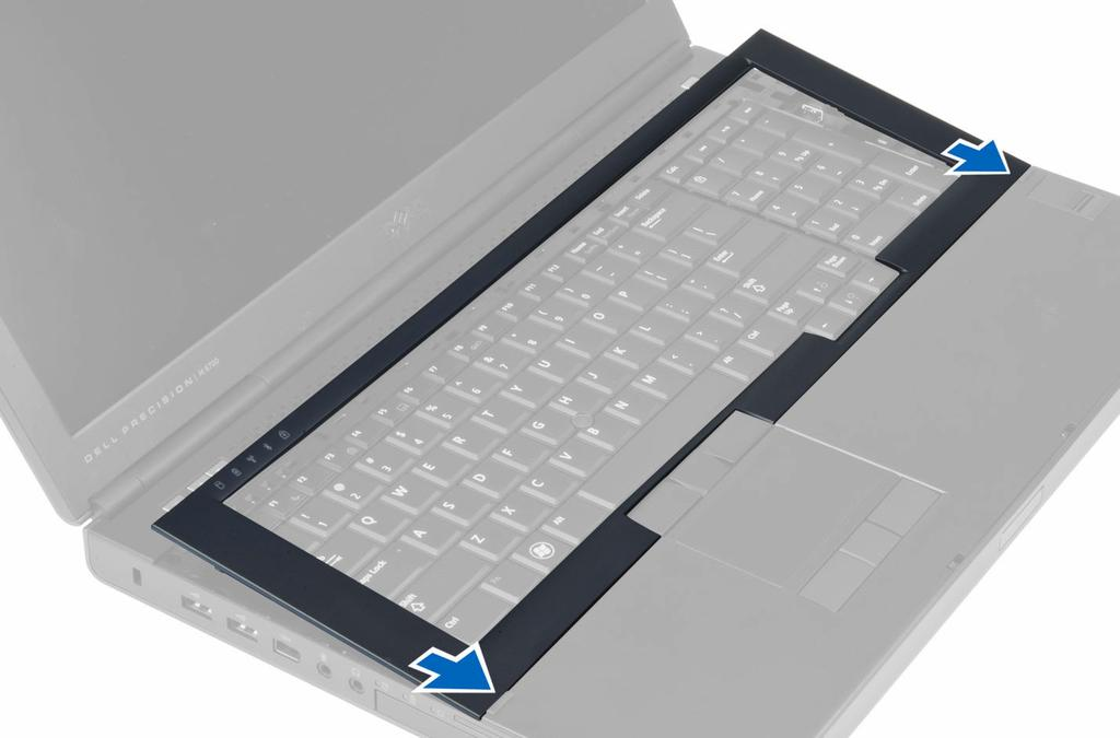 2. Press along the sides of the keyboard trim until it snaps in place. 3. Install the battery. 4. Follow the procedures in After Working Inside Your Computer.