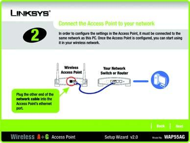 4. Connect the other end of the network cable to the Ethernet port on the back of the Access Point.