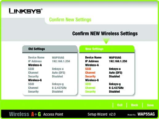 Figure 5-14: Wireless-G Security - PSK 14. The Confirm New Settings screen will appear to allow you to check your settings.