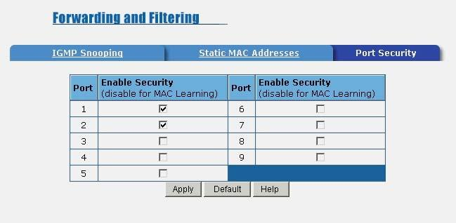 5-4-6-3. Port Security A port in security mode will be locked with address learning blocked. Only the incoming packets with SMAC already existing in the address table can be forwarded normally.