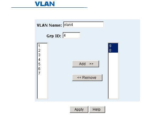 Create a VLAN and add tagged member ports. 1. From the main menu, click Administrator -- VLAN configuration. 2. Click Add. 3.