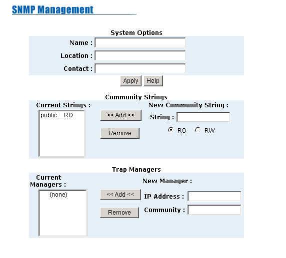 5-4-10. SNMP SNMP is a protocol that governs the transfer of information between management and agent. The switch supports SNMP V1.