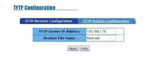 Executing TFTP software Copy firmware update version image.bin to TFTP software directory. In web management select Administrator TFTP update firmware.