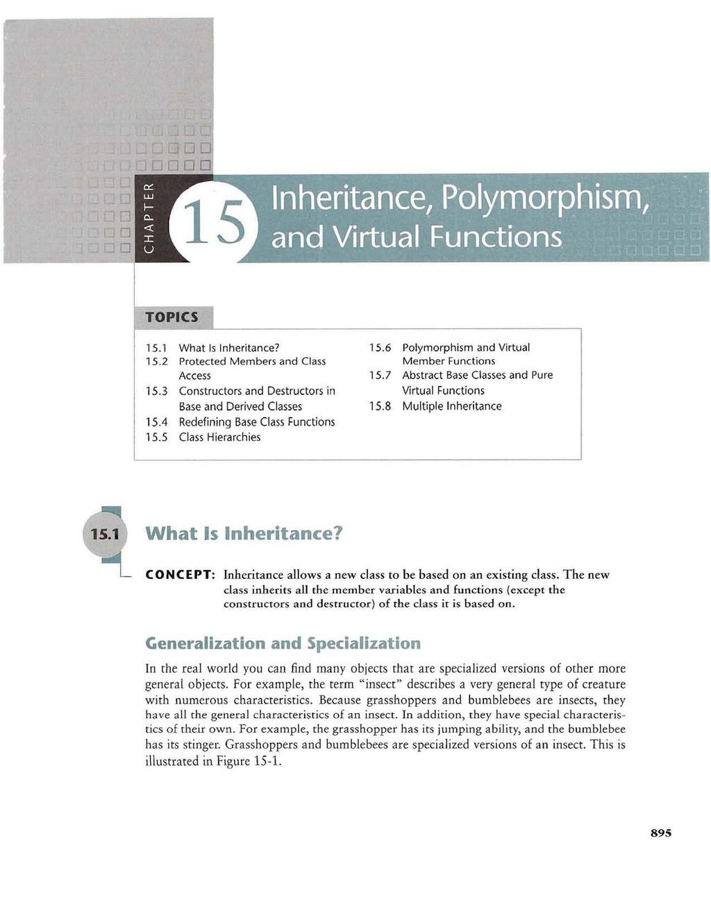 15.1 What Is Inheritance? 15.6 Polymorphism and Virtual 15.2 Protected Members and Cl ass Member Functions Access 15.7 Abstract Base Classes and Pure 15.