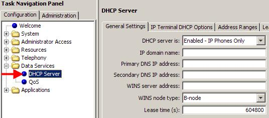 Configuration Note: Before configuring the BCM DHCP settings, ensure the LAN settings are configured as required, e.g. manual IP Address or obtain automatically.