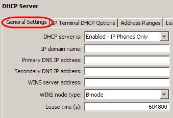 2. Ensure the General Settings tab is selected. Set the DHCP Mode and other details such as DNS & WINS Server addresses.