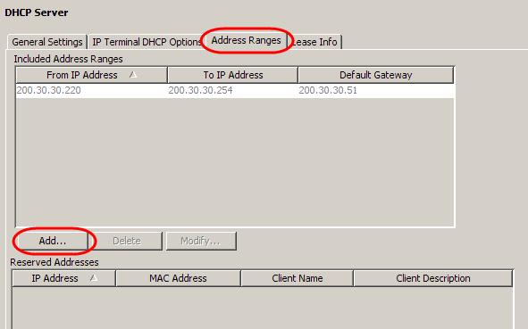 Setting the Address Ranges The IP Addresses to be issued to DHCP clients are entered in this section.