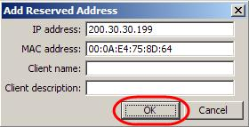 3. Enter the IP Address you want to reserve, and the MAC Address to assign the
